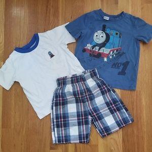 3 Pc Thomas The Train PJ Shirts and Shorts Lot